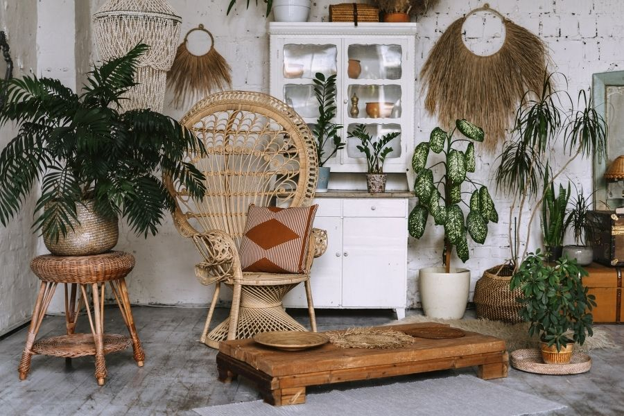 Cozy and comfortable room with interior in bohemian style