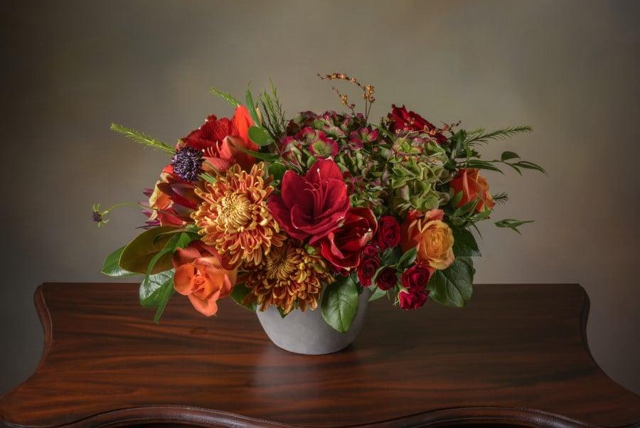 ANA Fresh Flower Arrangement in Bold Autumn Colors