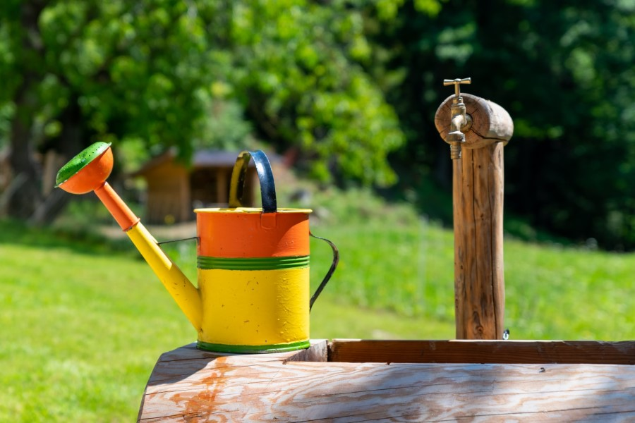 watering can on trough
