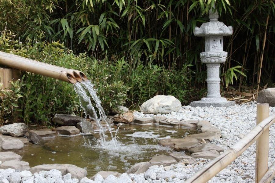 zen garden with water feature